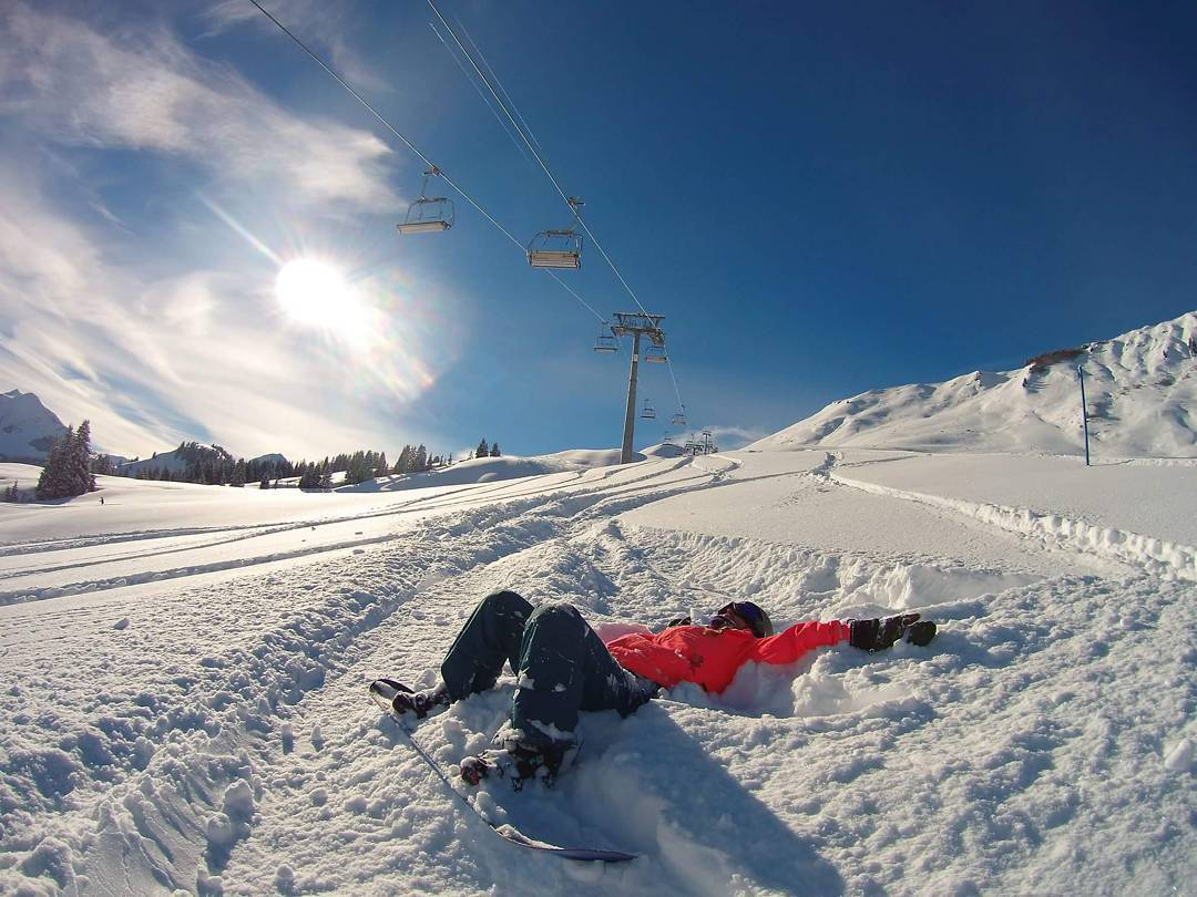 @sosobonfim - lying in snow Snowboarding and ski female shots of the week
